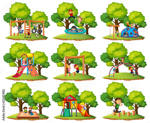 Poster Kids Set of playground park scenes