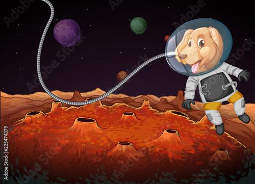 Staande foto Kids A dog astronaut in space