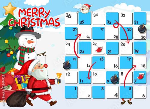 Fotobehang Kids Santa on board game template