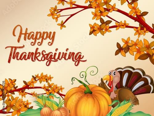 Fotobehang Kids Happy thanksgiving card template