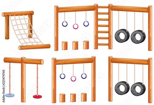 Fotobehang Kids Set of wooden playground equipments