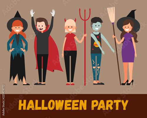 Stock vector woman in halloween devil costume