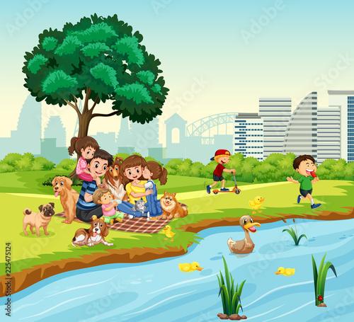 Fotobehang Kids Family picnic next to duck pond