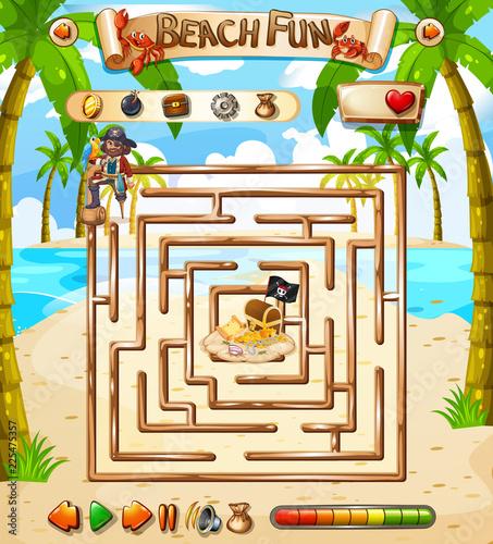 Fotobehang Kids Beach fun maze game template