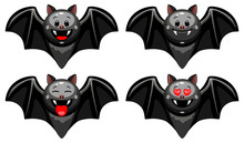 Vector Set Of Halloween Bat Emoticons. Collection Of Bat Characters With Different Emotions In Cartoon Style On White Background