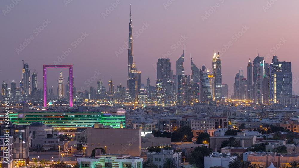 Fototapeta Dubai creek landscape day to night timelapse