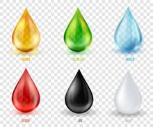Vector Set  Transparent Drops Of Various Most Common Liquid Subs