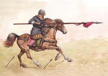 Knight Horseback. German (ottonic) Heavy Cavalry Charging At The Battle Of Lechfeld.