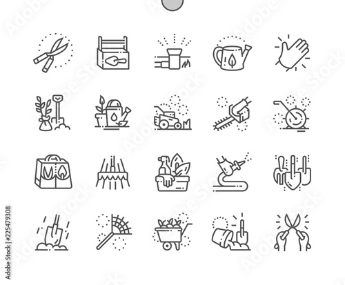 Poster Blanc Landscaping equipment and tools Well-crafted Pixel Perfect Vector Thin Line Icons 30 2x Grid for Web Graphics and Apps. Simple Minimal Pictogram