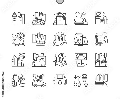 Eco friendly city Well-crafted Pixel Perfect Vector Thin Line Icons 30 2x Grid for Web Graphics and Apps. Simple Minimal Pictogram - 225479383