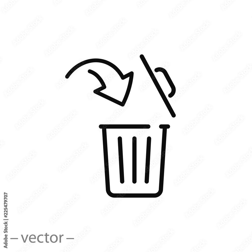 Fototapeta open trash bin icon, linear editable vector illustration eps10