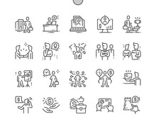 Business People Well-crafted Pixel Perfect Vector Thin Line Icons 30 2x Grid For Web Graphics And Apps. Simple Minimal Pictogram