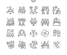 Teamwork Well-crafted Pixel Perfect Vector Thin Line Icons 30 2x Grid For Web Graphics And Apps. Simple Minimal Pictogram