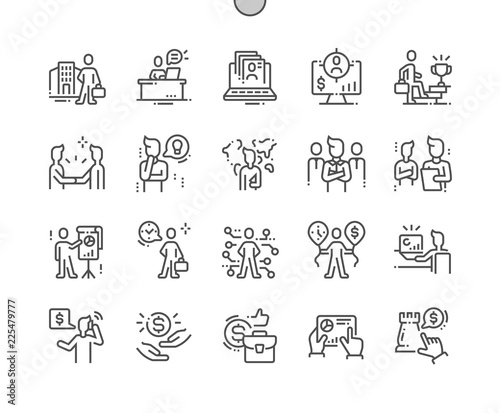 Obraz Business people Well-crafted Pixel Perfect Vector Thin Line Icons 30 2x Grid for Web Graphics and Apps. Simple Minimal Pictogram - fototapety do salonu