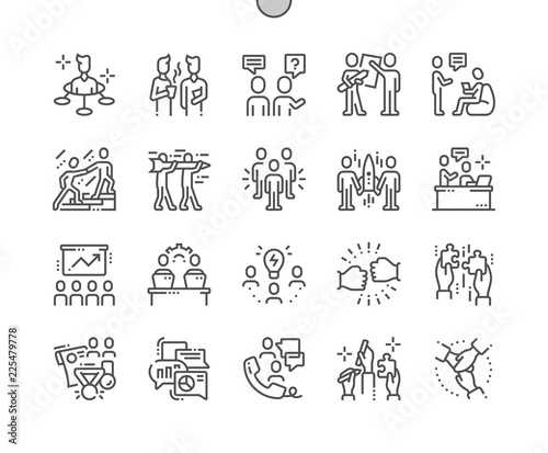 Obraz Teamwork Well-crafted Pixel Perfect Vector Thin Line Icons 30 2x Grid for Web Graphics and Apps. Simple Minimal Pictogram - fototapety do salonu