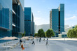 3d render of modern  city with glass buildings