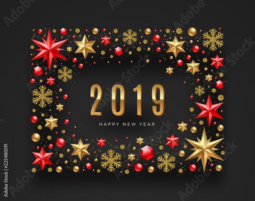 Fotografie, Obraz  New Year 2019 greeting illustration