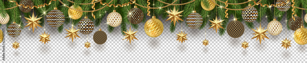 Fototapety, obrazy: Christmas golden decoration and Christmas tree branches on a checkered background. Can be used on any background. Seamless frieze. Vector illustration.
