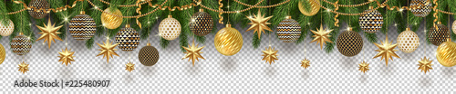 Photo  Christmas golden decoration and Christmas tree branches on a checkered background