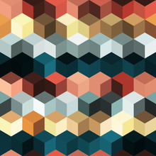 Hexagon Grid Seamless Vector Background. Technological Polygons Bauhaus Corners Geometric Design. Trendy Colors Hexagon Cells Pattern For Banner Or Cover. Honeycomb Cube Shapes Mosaic.