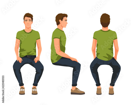 Obraz Vector illustration of three sitting men in casual clothes under the white background. Cartoon realistic people - fototapety do salonu
