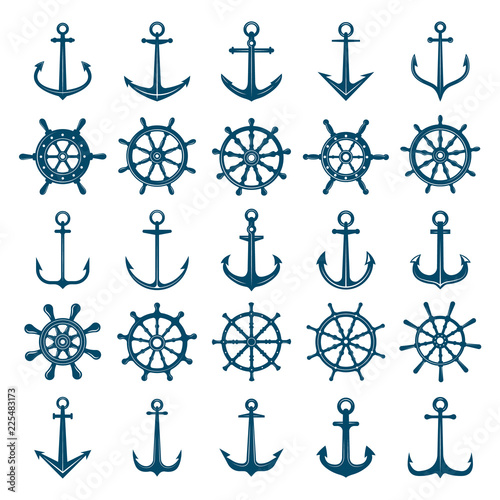 Fototapeta Wheels ship anchors icon