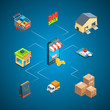 Vector isometric shipping and delivery icons infographic concept illustration. Delivery isometric transport, transportation and warehouse storage