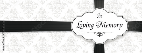 Fotografia Loving Memory Obituary Emblem Black Ribbon Header