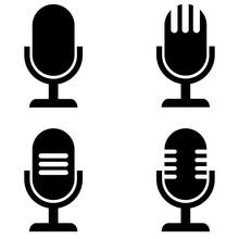 Microphone Vector Icon, Logo O...
