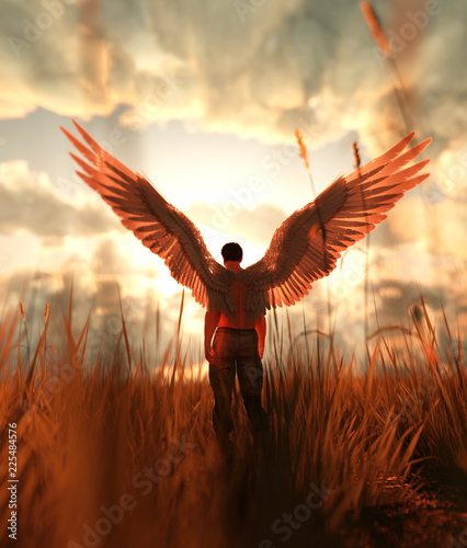 3d illustration of an Angel in grass field Wall mural