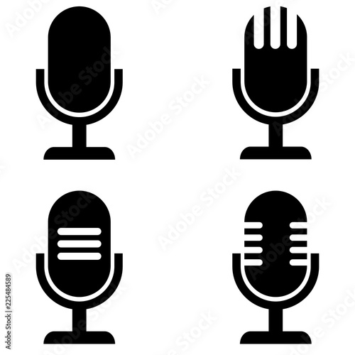 Fotografija Microphone vector icon, logo on a white background