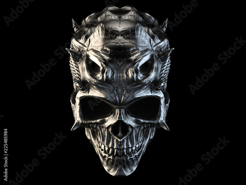 Fototapeta Old silver demon skull with horns and scales