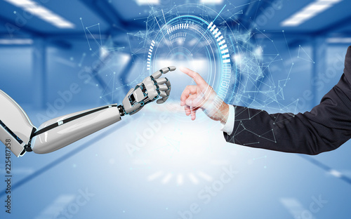 Photo Businessman Robot Hands Connection HUD Network