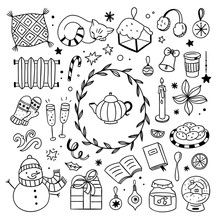 Hygge Winter Elements Doodle Illustrations. Cute Christmas Icons On White Background
