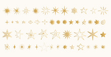 Set Of Golden Stars. Glitter Shapes. Vector.