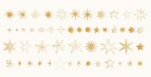 Set Of Golden Stars. Glitter S...