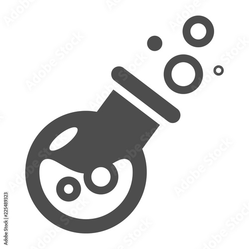 Magic potion bottle solid icon  Drink with bubbles vector