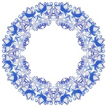 Blue Circular Ornament With Birds And Flowers. Template Design In Ethnic Style Gzhel Porcelain Painting.