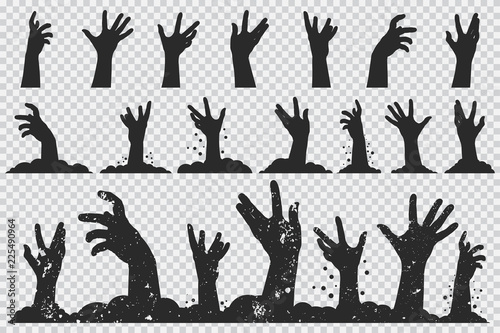 Obraz Zombie hands black silhouette. Vector Halloween icons set isolated on a transparent background. - fototapety do salonu