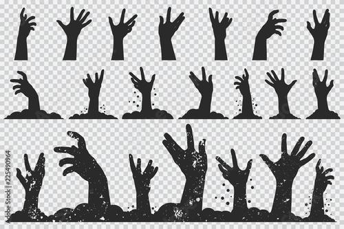 Tablou Canvas Zombie hands black silhouette