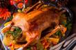 Leinwandbild Motiv delicious crispy honey goose from the oven