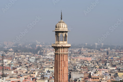 Obraz na płótnie Old Delhi view and minaret of Jama Masjid,
