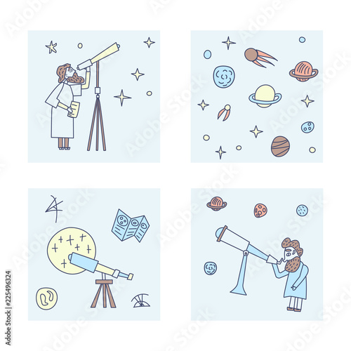 Vector set of design of astronomers and space objects. Wallpaper Mural