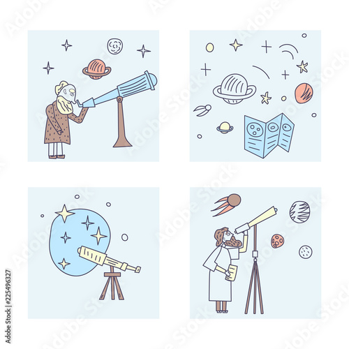 Canvas Print Vector design of astronomers and space objects.