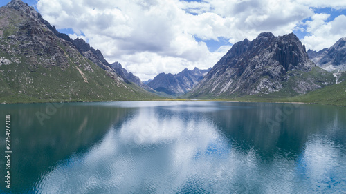 Poster Bergen Aerial view of beautiful lake in high altitude mountains