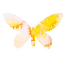 Yellow Watercolor Butterfly