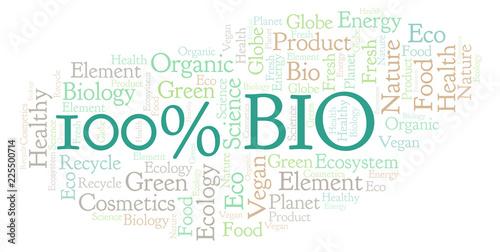 Fototapety, obrazy: 100 Percent Bio word cloud.