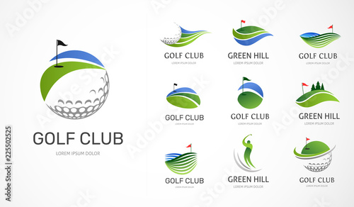 Stampa su Tela Golf club icons, symbols, elements and logo collection