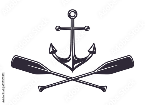Canvas Print Monochrome vintage icon, crossed wooden paddles and sea anchor