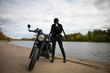 Woman and motorcycle